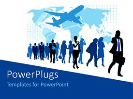PowerPlugs: PowerPoint template with silhouette of airplane and world map with walking travellers