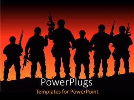 PowerPlugs: PowerPoint template with silhouette of armed uniformed soldiers on hill with sunset red orange background