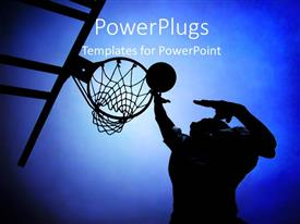 PowerPlugs: PowerPoint template with silhouette of basketball player in court rising up for a slam dunk