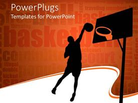 PowerPlugs: PowerPoint template with silhouette of basketball player throwing ball in the hoop bastetball related words on orange background
