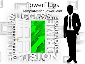 PowerPoint template displaying silhouette of business man near open door displaying green arrows and surrounded by word cloud of success, positivity, confidence, motivation, persistence, vision, attitude, drive