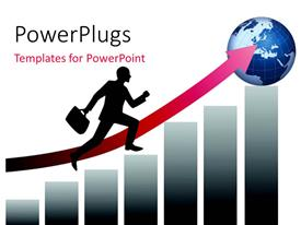 PowerPlugs: PowerPoint template with a silhouette of a business man running towards and earth globe