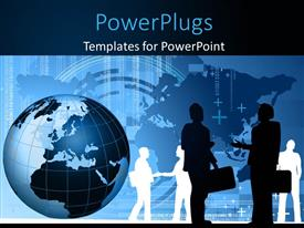 PowerPlugs: PowerPoint template with silhouette of business men shaking hands with globe over world map