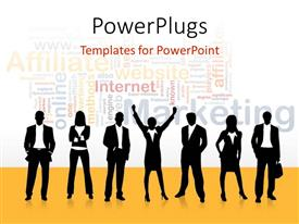 PowerPlugs: PowerPoint template with a silhouette of business men and women with different Marketing text