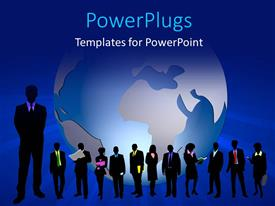 PowerPlugs: PowerPoint template with a silhouette of business men and women with a globe behind them