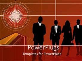 PowerPlugs: PowerPoint template with silhouette of business men and women, light burst, red background