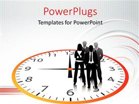 PowerPlugs: PowerPoint template with a silhouette of business men and women standing on a clock