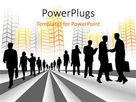PowerPoint template displaying silhouette of business people on black and white striped background