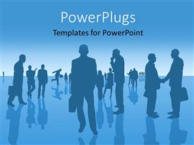 PowerPlugs: PowerPoint template with a silhouette of business people having conversations
