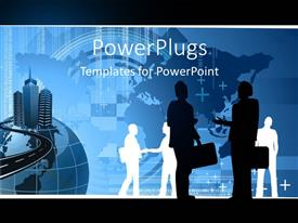 PowerPlugs: PowerPoint template with silhouette of business people interacting with world map in background