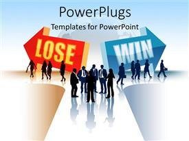 PowerPlugs: PowerPoint template with silhouette of business people threading LOSING and WINNING path