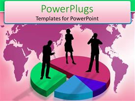 PowerPlugs: PowerPoint template with silhouette of business persons standing on pies of pie chart