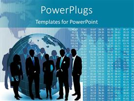 PowerPlugs: PowerPoint template with silhouette of business team and earth globe with binary digits