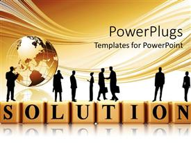 PowerPlugs: PowerPoint template with silhouette of businessmen standing on 3D SOLUTION tiles with globe on surface