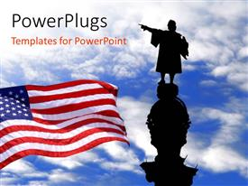 PowerPlugs: PowerPoint template with silhouette of Christopher Columbus statue with the American flag over blue sky