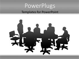 PowerPlugs: PowerPoint template with silhouette of conference meeting with man presenting to colleagues