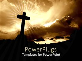 PowerPlugs: PowerPoint template with silhouette of cross with bright glow of light from cloudy sky