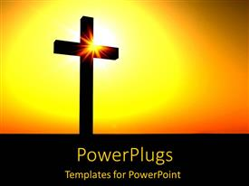 PowerPoint template displaying silhouette of cross in orange sunset yellow black background