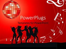 PowerPoint template displaying silhouette of dancing ladies with music symbols on red background