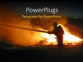 PowerPlugs: PowerPoint template with silhouette of a firefighter at a fire scene