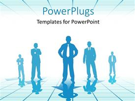 PowerPoint template displaying a silhouette of five business men standing on a reflective floor