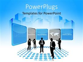 PowerPlugs: PowerPoint template with a silhouette of five business people standing with some tiles above them