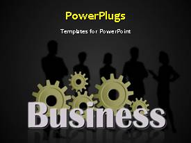 PowerPoint template displaying a silhouette of five men and women standing behind some gears