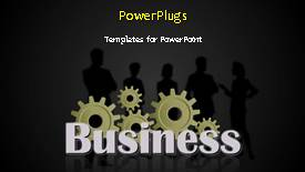 PowerPoint template displaying a silhouette of five men and women standing behind some gears - widescreen format