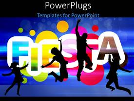 PowerPoint template displaying silhouette of four people dancing over colorful background