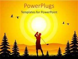 PowerPlugs: PowerPoint template with silhouette of golfer surrounded by pine trees
