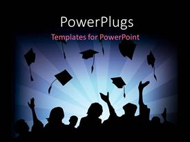 PowerPlugs: PowerPoint template with silhouette of Graduates Tossing their Caps in air