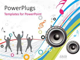 PowerPlugs: PowerPoint template with silhouette of grey people dancing to music with speaker and music symbols