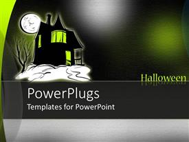 PowerPoint template displaying silhouette of haunted house with green windows under full moon