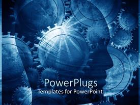 PowerPoint template displaying silhouette of a head against a background of gears