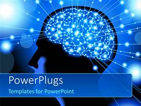 PowerPlugs: PowerPoint template with silhouette of the head, brain, and pulses depicting process of human thinking