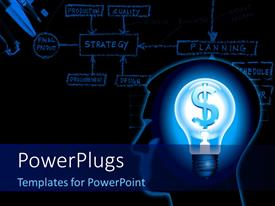 PowerPlugs: PowerPoint template with silhouette of a human head with a lamp and a dollar with strategy diagram in the background