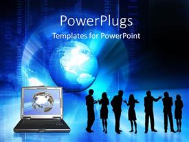 PowerPlugs: PowerPoint template with silhouette of interacting people with laptop over earth globe