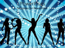 PowerPoint template displaying silhouette of ladies over blue background littered with white stars