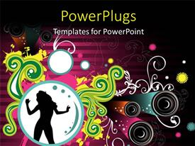 PowerPlugs: PowerPoint template with a silhouette of a lady dancing on an abstract designed background