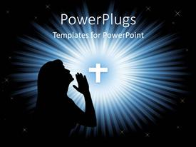 PowerPlugs: PowerPoint template with a silhouette of a lady praying with a cross