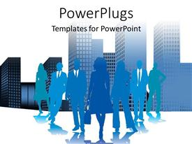 PowerPoint template displaying a silhouette of lots of business people with a city landscape