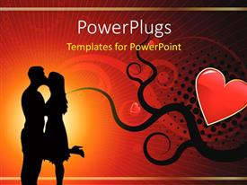 PowerPoint template displaying silhouette of lovers kissing over red background with love symbol