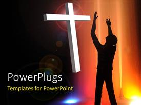 PowerPlugs: PowerPoint template with silhouette of man with arms reaching up to white cross