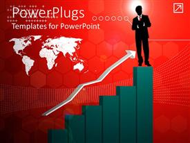 PowerPlugs: PowerPoint template with silhouette of man in business suit stands on end of bar chart showing upward growth