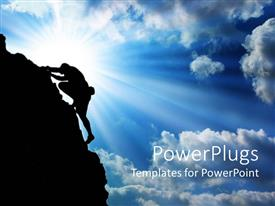 PowerPlugs: PowerPoint template with silhouette of man climbing up a mountain with bright glow in blue sky
