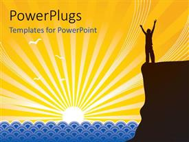 PowerPlugs: PowerPoint template with silhouette of man with hands raised on mountain top at sunrise