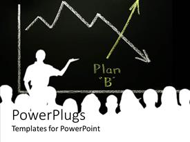 PowerPlugs: PowerPoint template with silhouette of man making presentation to a group with graph showing downward trend replaced by upward Plan B