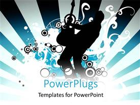 PowerPlugs: PowerPoint template with a silhouette of a man playing a guitar over a music theme