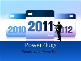 PowerPlugs: PowerPoint template with silhouette of a man pointing to a 2011 calendar