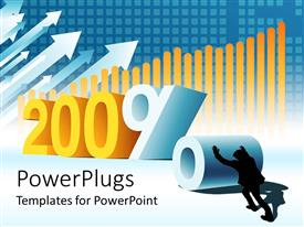 PowerPlugs: PowerPoint template with silhouette of man pushing three dimensional percent sign to number 200